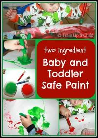 TWO INGREDIENT Baby and Toddler Safe Paint - My little ones love to taste everything they paint with, so I am always on the look out for simple recipes to make edible paint. This one was a favorite for my toddlers and my older boys!