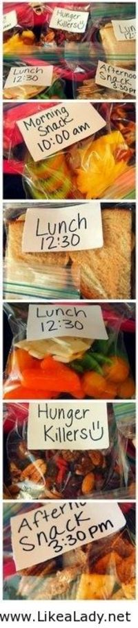 Portion control packing ideas! (good idea for packing mini-meals)