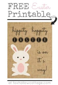Burlap Bunny Easter Art Free Printable. #easter #art #printable