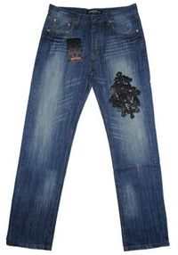 Chrome Hearts Black Leather Cross Blue Wash Jeans