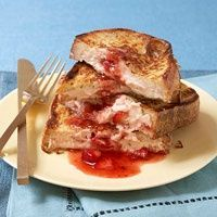 Healthy Stuffed French Toast! Try using Laughing cow strawberry cream cheese wedges instead of the low fat cream cheese and then sugar free syrup to save even more calories and fat : )