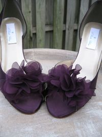 Purple Eggplant Bridal Shoes with Organza Flower Design - Over 100 Color Shoe Choices to Pick From. $135.99, via Etsy.