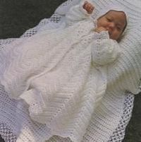 Crocheted Christening Coat, Bonnet and Blanket Vintage Pattern - (Crocheting is the hobby-not the baby)