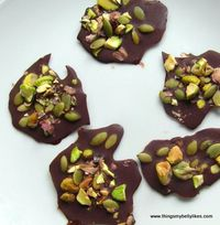Pepita Chocolate Drops with Pistachio & Sea Salt. A salty n sweet, low-carb treat.