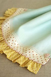 beautiful way to finish a tea towel or a baby blanket