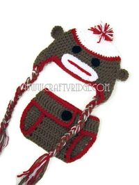 Baby Sock Monkey Set Crochet Photo Prop Set Hat by CraftyRidge, $35.00