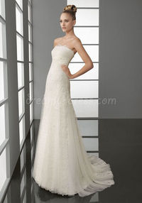 Chic Tulle Sheath/Column Strapless Embroidery Lace Empire Waist Sweep Train Wedding Dress