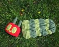 very hungry caterpillar crochet Cocoon and hat set
