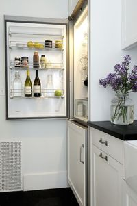 Liebher counter depth fridge and cleft slate counters