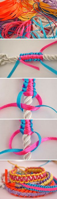 Ribbon rope necklace; Mother's Day