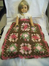 American Girl 18 inch Doll size, Crochet Granny Square Throw Afghan in pink, sage and brown. via Etsy.