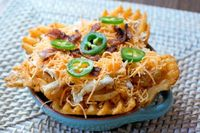 Potato Skin Irish Nachos. (aka, Cheesy Waffle Fries).