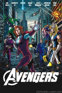 Comics Alliance asked Chris Haley to draw this recast version of The Avengers, where every character is replaced by their canonical opposite gender counter part (from left to right: She-Hulk, Kate Bishop, Pepper Potts as Rescue, Maria Hill, American D...