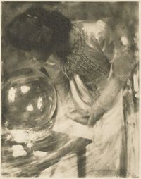 The Crystal Gazer	 Kasebier, Gertrude, b.1852-1934 The Artistic Side of Photography, 1910 8.8 x 11.5 cm Photogravure