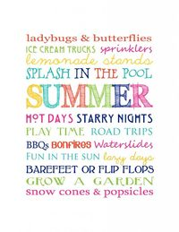 Free Summer Subway Art Printable. This sounds like a perfect summer to me.