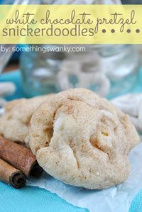 White Chocolate Pretzel Snickerdoodles at www.somethingswan... #recipes #cookies