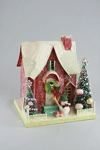 Red Putz Christmas House with Snowman