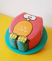 Cute kids owl birthday cake