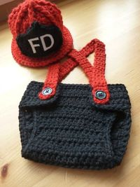 Crochet Little Firefighter Set.