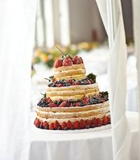Deconstructed Wedding Cake (simply not frosted so that the inside can be shown off then decorated with fruit or other delicacies)