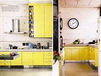 yellow and concrete kitchens