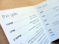 A day-of schedule for your bridesmaids and groomsmen.
