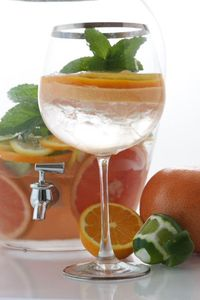 Grapefruit Orange Lime Mint 1 Grapefruit 1 Orange 1 Lime 1 Bunch of Fresh Mint Water and Ice