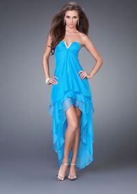 2013 Blue La Femme 15033 High-Low Dresses For Homecoming Night