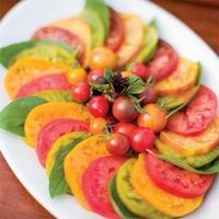 Tomato-Basil salad with different kind of tomatoes