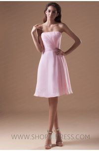 A-line Strapless Short/Mini Chiffon Pink Prom Dress with Cascading-Ruffle