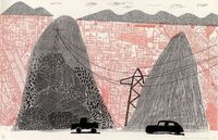 Mulholland Drive. home-made print made on an office copy machine. David Hockney, 1986.