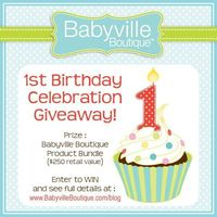 "Babyville Boutique 1st Birthday Celebration Giveaway! Visit the Babyville Boutique�""� blog and enter to win $250 worth of great prizes!"