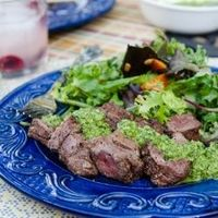Beef Kebabs and Tangy Chimichurri recipe