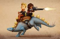 Firefly: Wash and Zoe on a Dinosaur by *Risachantag on deviantART