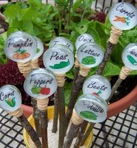 Garden labels made with Dollar Tree Gems and Modge Podge.