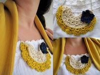 Crocheted lace necklace - bib necklace
