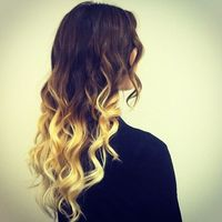 brown hair with blonde dip dye