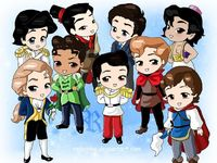 Chibi-Disney Princes by ~rebenke  top left: Eric, Shang, Robert, Aladdin  bottom left: Adam, Naveen, Prince of Cinderella, Philip, Prince of Snow White
