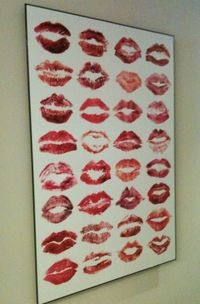 Love this idea! Bachalorette Party/Shower? All your best girlfriends/family kiss a piece of paper - put it a frame!