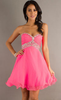 Dazzling Top Layered Chiffon A-line Short Homecoming Skirt Pink