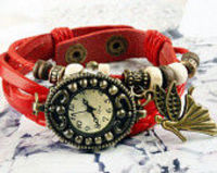 Handmade watches,Braid leather watch,angel pendant, watch bracelet, leather bracelet watch,women watch, birthday