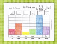 "Roll a sight word graphing game: the dice are soft cubes that have clear pockets to put cards in. They can be used for so many things. The possibilities are endless! This is a game where kids work with a partner and record the word that shows ""face-up..."