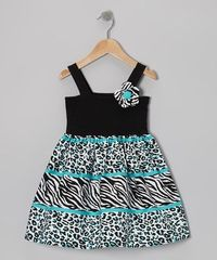 Take a look at this Turquoise & Black Wild A-Line Dress - Infant by Youngland on #zulily today!