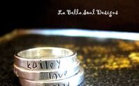 Personalized Sterling Silver Hand Stamped Stackable Ring. $22.00, via Etsy.