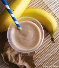 """My Favorite Post-Run Peanut Butter & Banana Smoothie makes about 2 tall glasses of smoothie Ingredients: 1 banana, peeled 1/4 C all natural creamy peanut butter 2 C skim milk (or you could use almond milk) 1 T protein powder or sugar-..."
