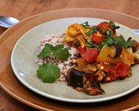 Moroccan Chicken Recipe with Eggplant, Tomato & a Pile of Spices!
