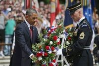 US President Obama marked Memorial Day by laying a wreath at the Tomb of the Unknowns at Arlington National Cemetery and urging Americans to remember the soldiers still fighting, and dying, in Afghanistan. (via