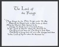 The famous verse, handwritten by J.R.R. Tolkien himself.