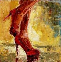 Red Stilettos by Judy Mackey. 6in x 6in painting knife oil painting