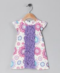 Take a look at this Ivory & Purple Ruffle Swing Dress - Infant & Toddler by RuffleButts on #zulily today!